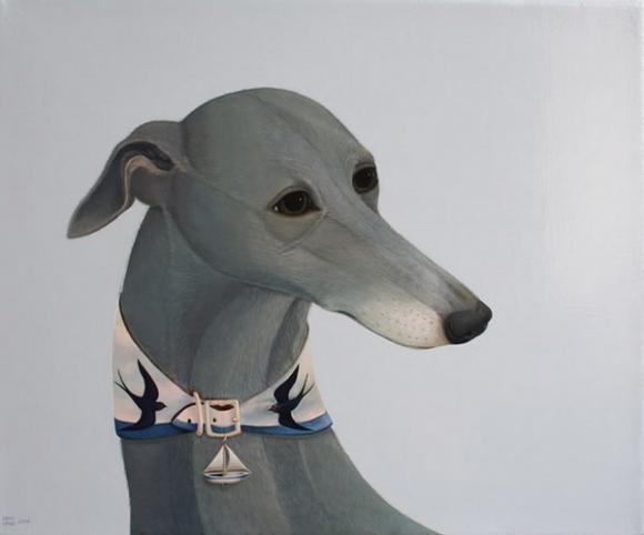 Britische Hunderasse Whippets – Gemälde von Whyn Lewis