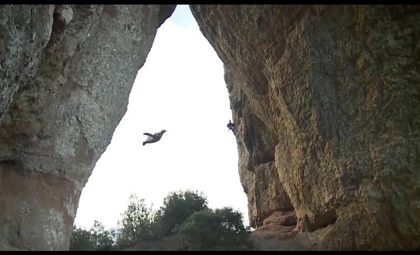 Mit Wingsuit durch ein Felsloch