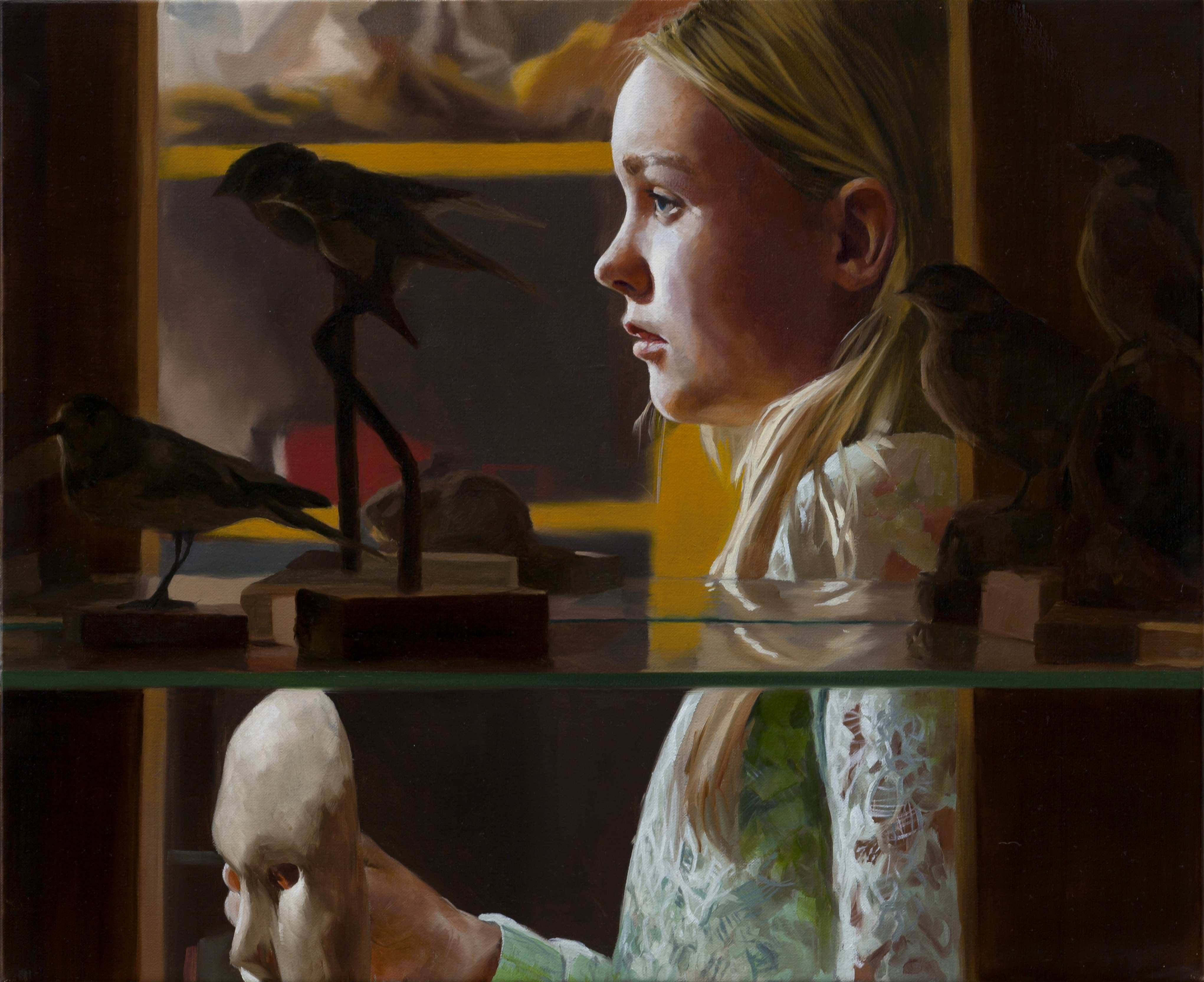 The-Mask-Girl-behind-the-cabinet-2015-Markus-Akesson-oil-on-canvas-38x46cm