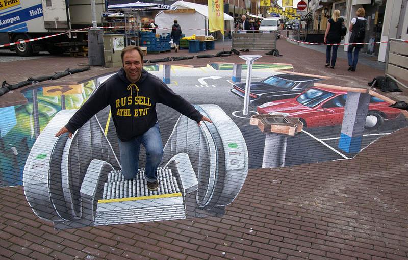 3D Street Art von Leon Keer