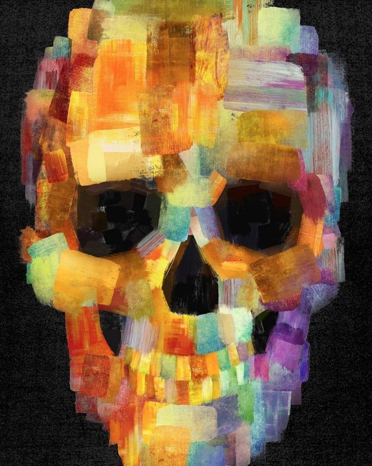 """""""Skull Grunge Paint Black"""" Bunter Schädel auf dem schwarzen Hintergrund"""