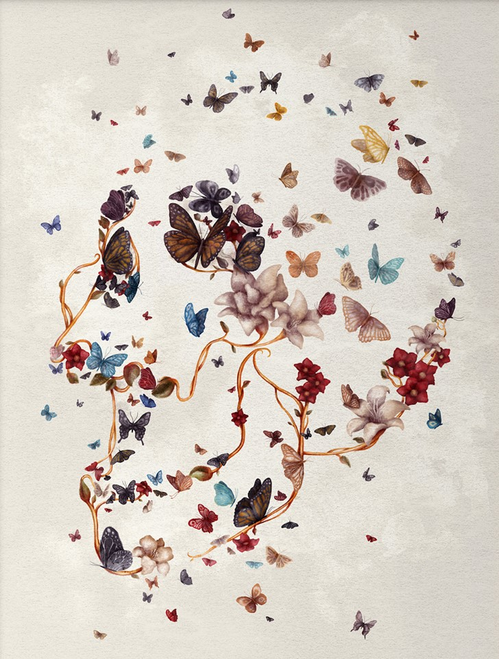 """""""Skull Garden"""" Schädel mit Schmetterlingen und Blumen"""