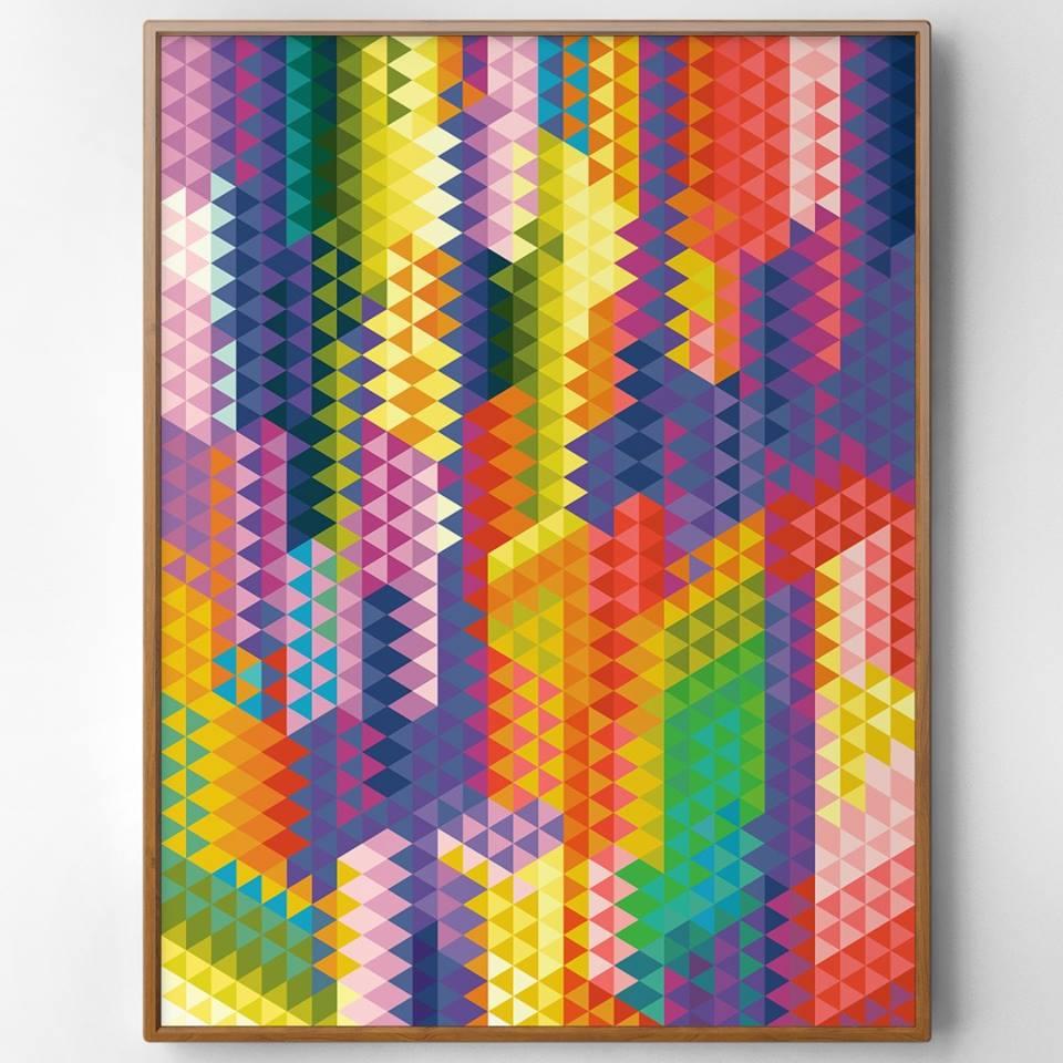 """""""Geometric Triangles Aurora"""" Geometrisches Bild aus bunten Dreiecken"""