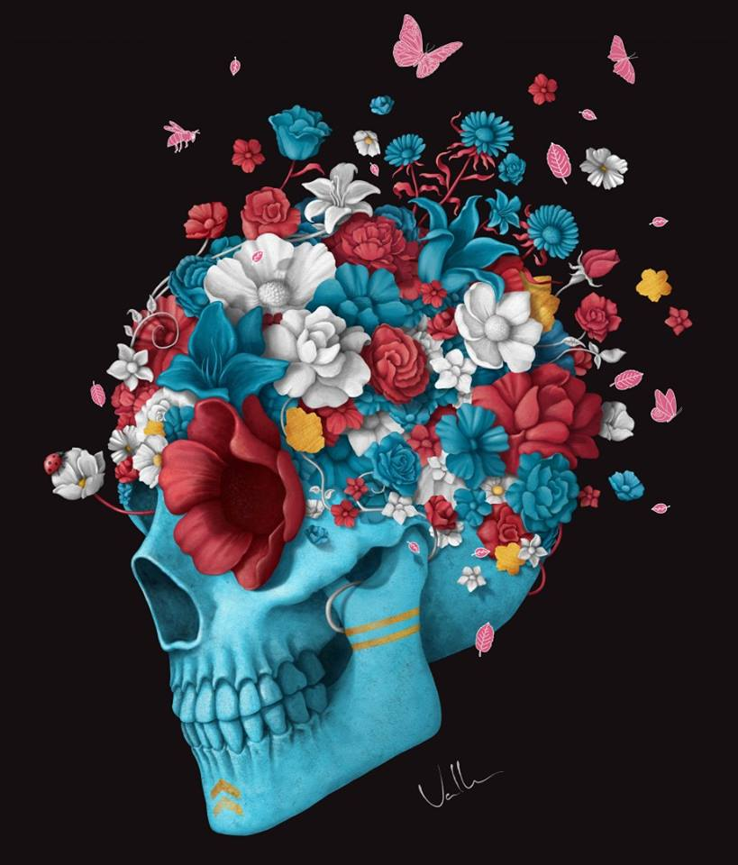 Der blaue Schädel mit Blumen