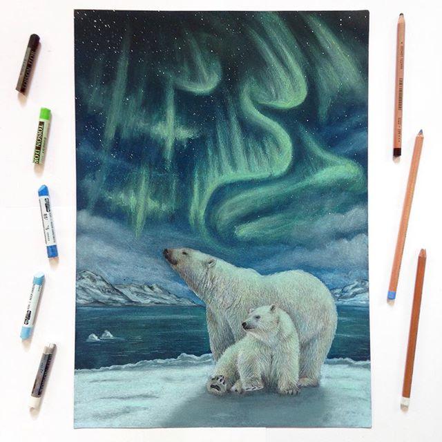Zwei Eisbären auf dem Nordpol