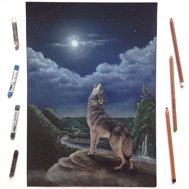 Der Wolf heult den Mond an