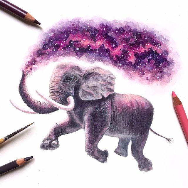 Wunderschöne Zeichnungen von David Ambarzumjan: ein Elefant