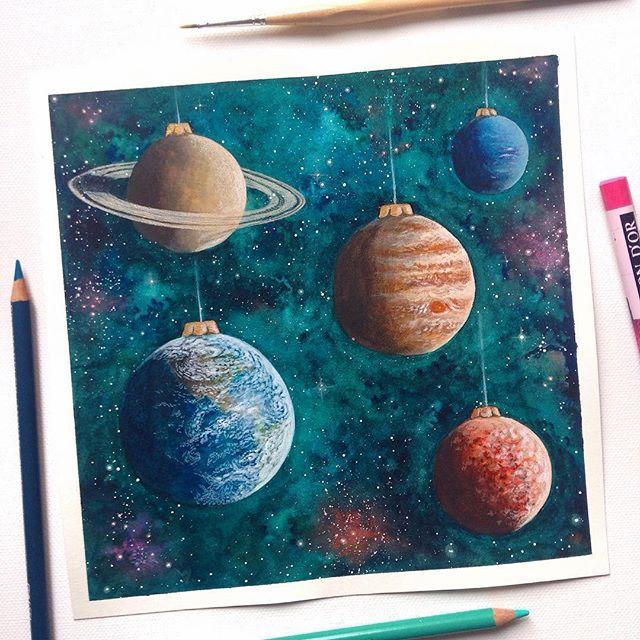 Die Planeten als Weihnachtskugeln