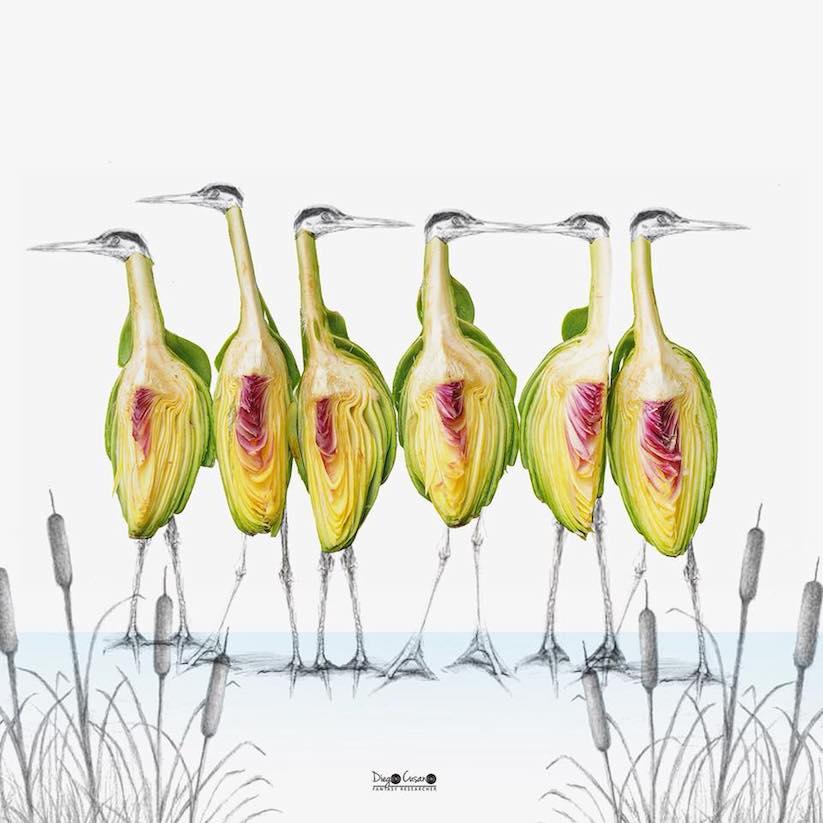 6 Vögel aus Artischocken