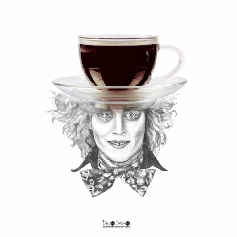 Eine Tasse Kaffee auf dem Kopf eines Menschen