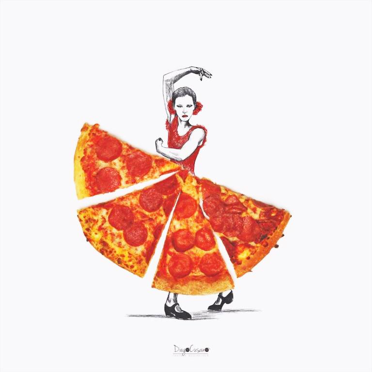 Eine Flamenco-Tänzerin mit Pizza-Rock