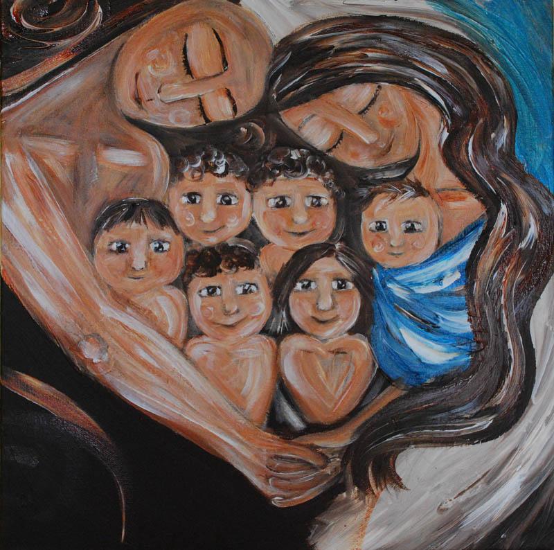 Mutter, Vater und sechs Kinder