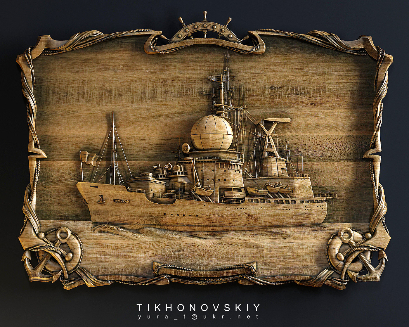 Ein Schiff. Basrelief aus Holz