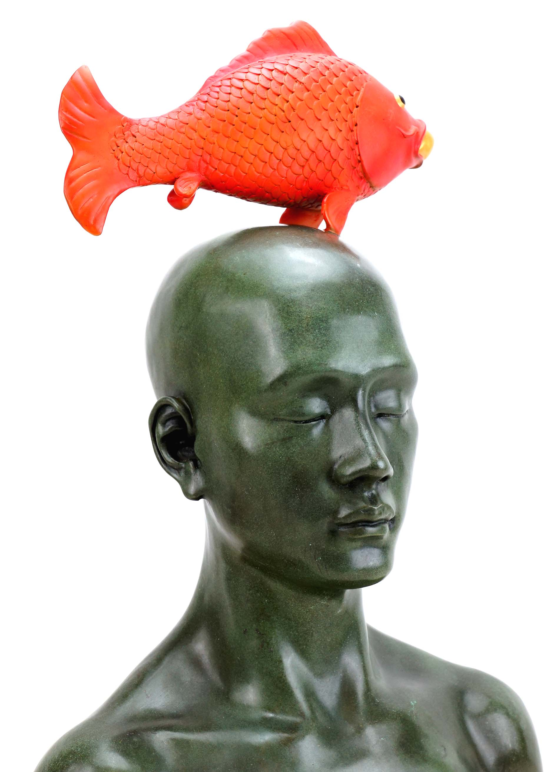 """Man with lucky Koi"""