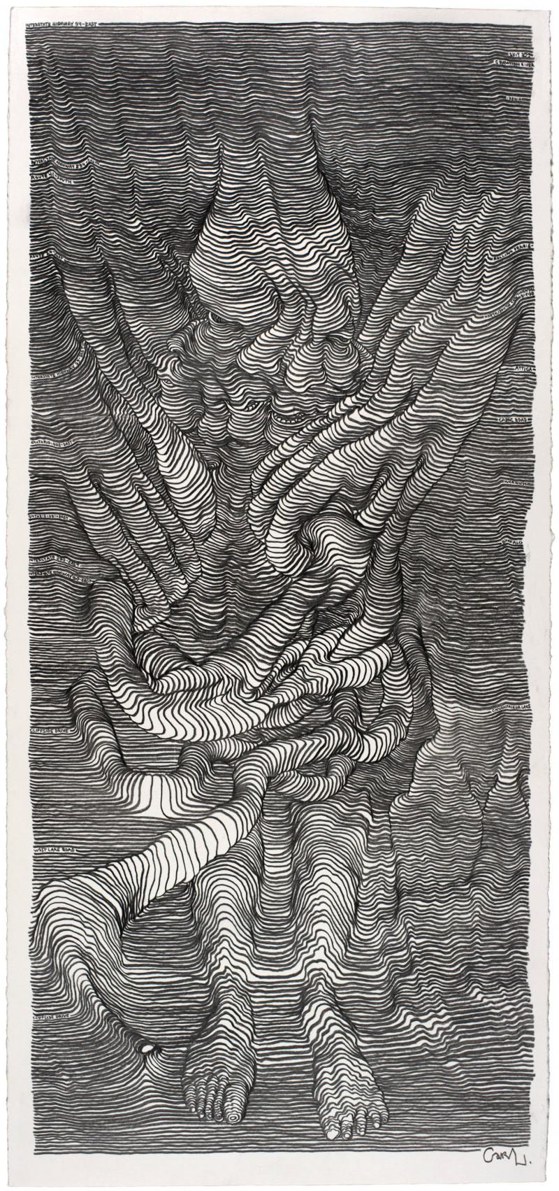 Unglaubliche graphische Linienskulpturen von Carl Krull_A Scroll Drawing