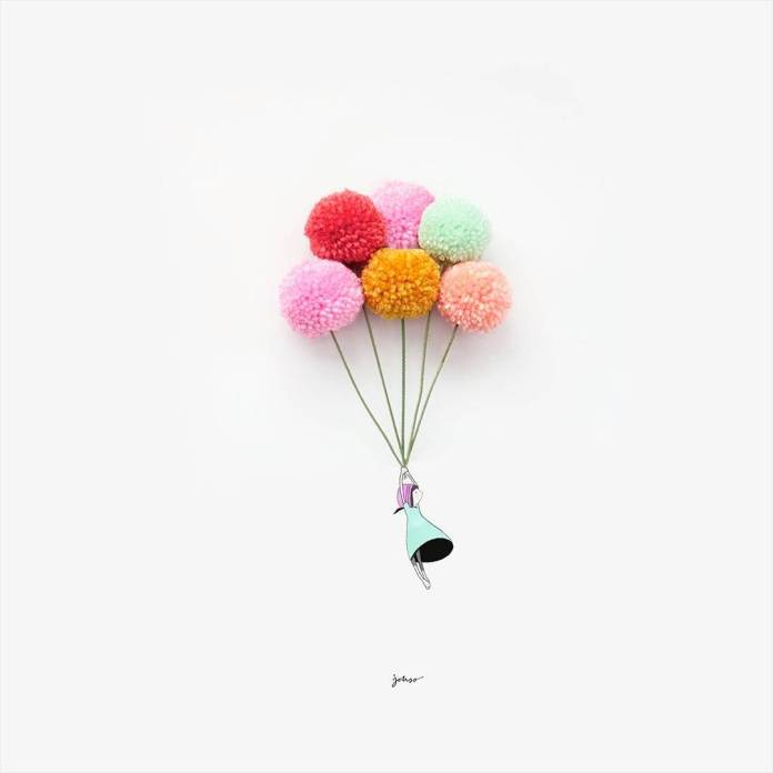 Mädchen mit Luftballons aus Wolle