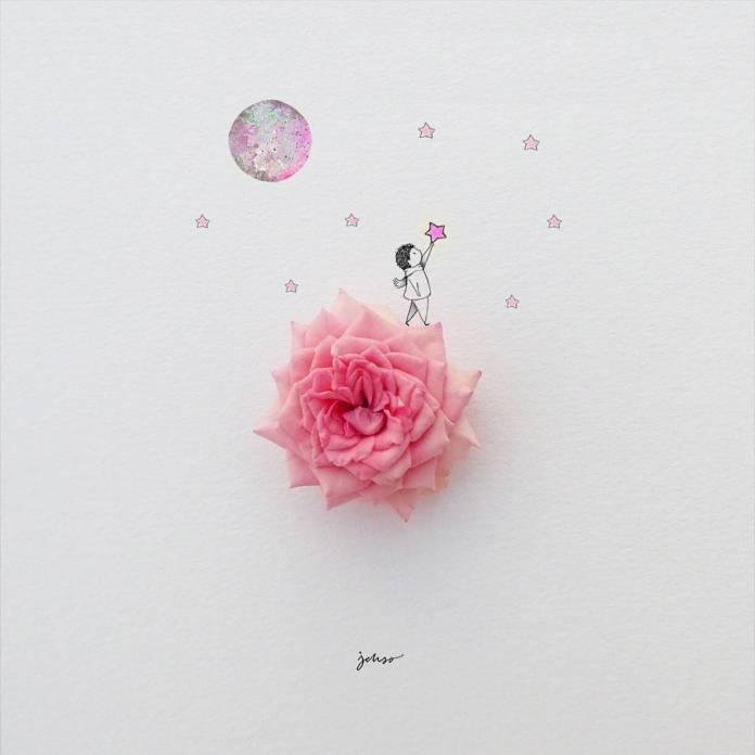 Ein Junge, Mond, Sterne und eine Rose