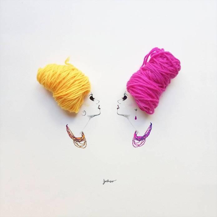 Zwei Frauenköpfe