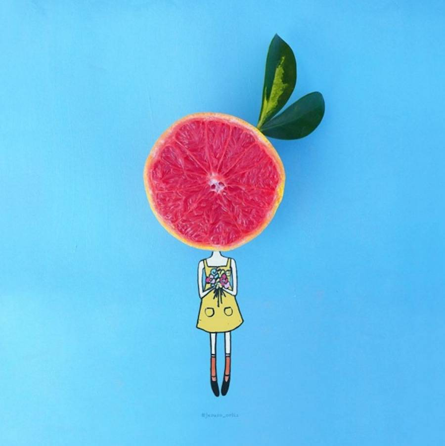 Fantasievolle Bilder mit Alltagsdingen von Jesuso Ortiz. Mädchen mit Blumen