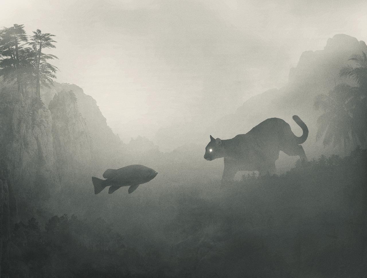 Mysteriöse digitale Bilder von Dawid Planeta_Katze und Fisch