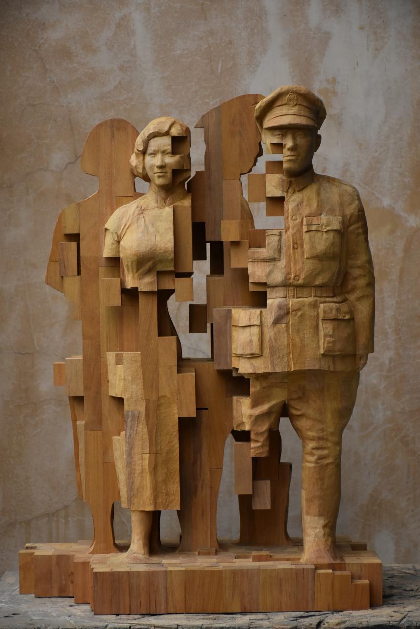 """""""Pixelations"""" - ein Soldat mit seiner Frau"""
