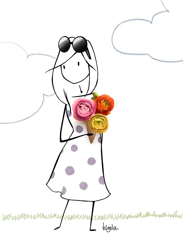 Mädchen mit Sonnenbrille und drei Rosen