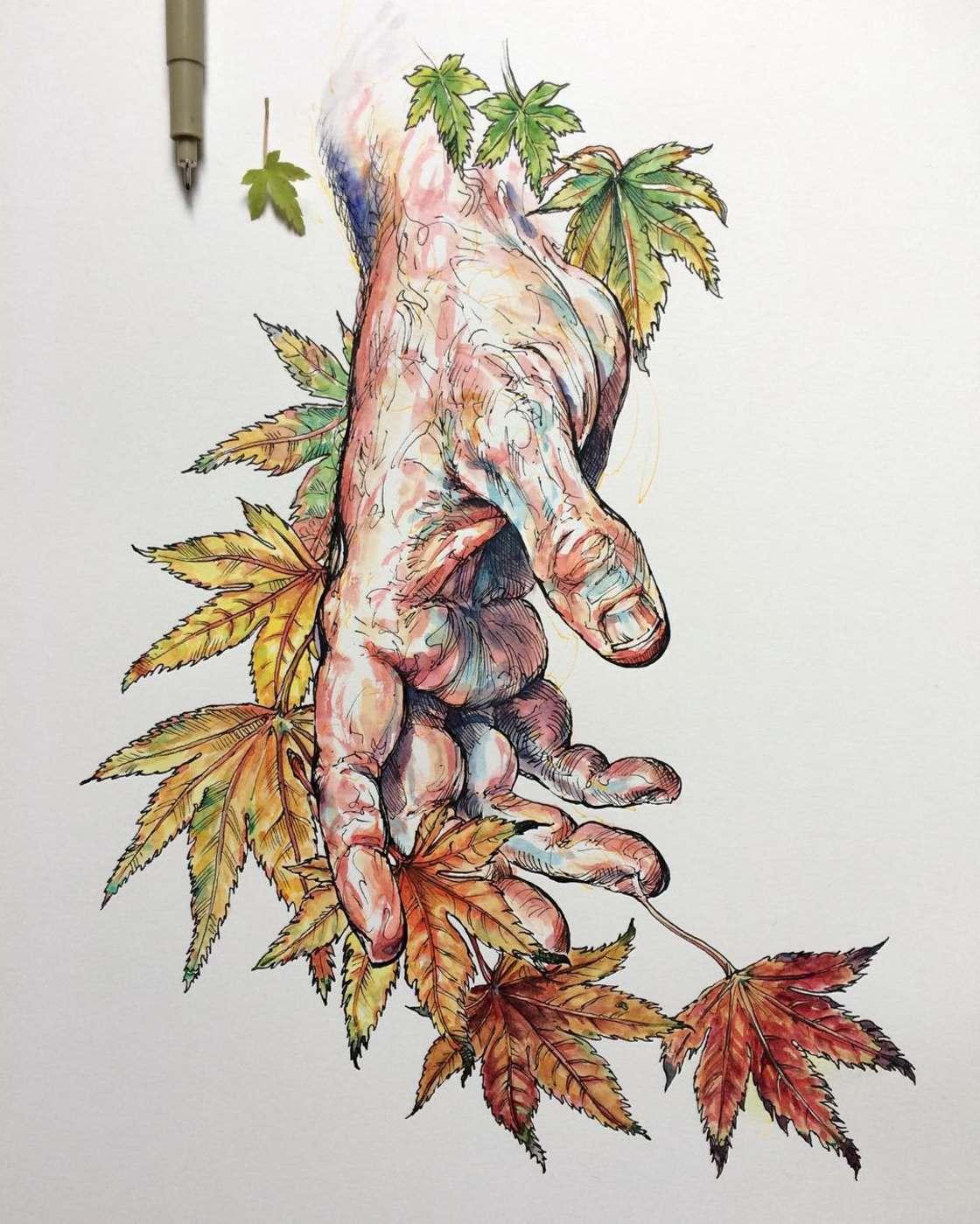 Blumen und Hände in der Kunst von Noel Badget Pugh