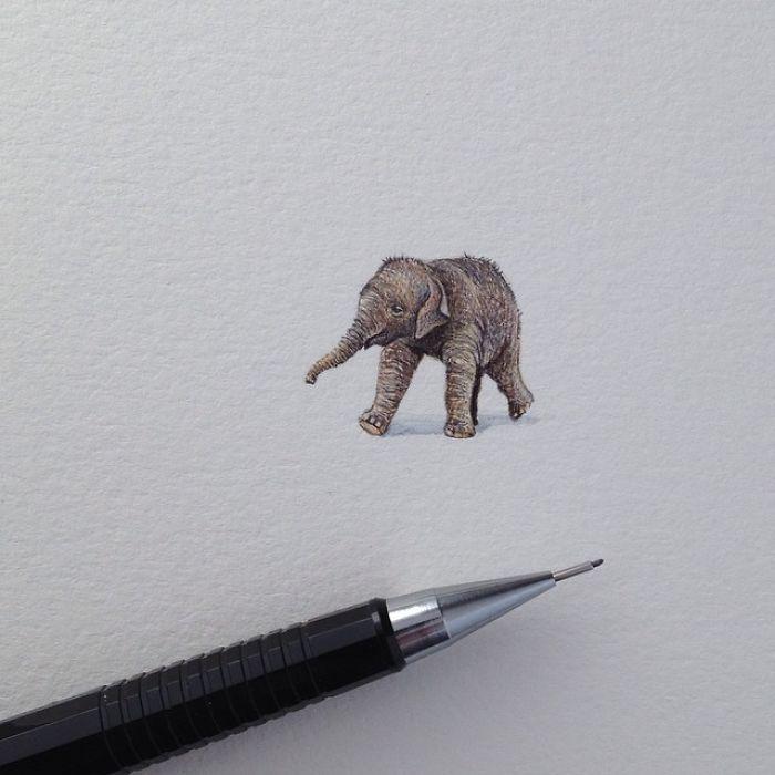 Klitzekleine Miniaturbilder von Brooke Rothshank. Elefant
