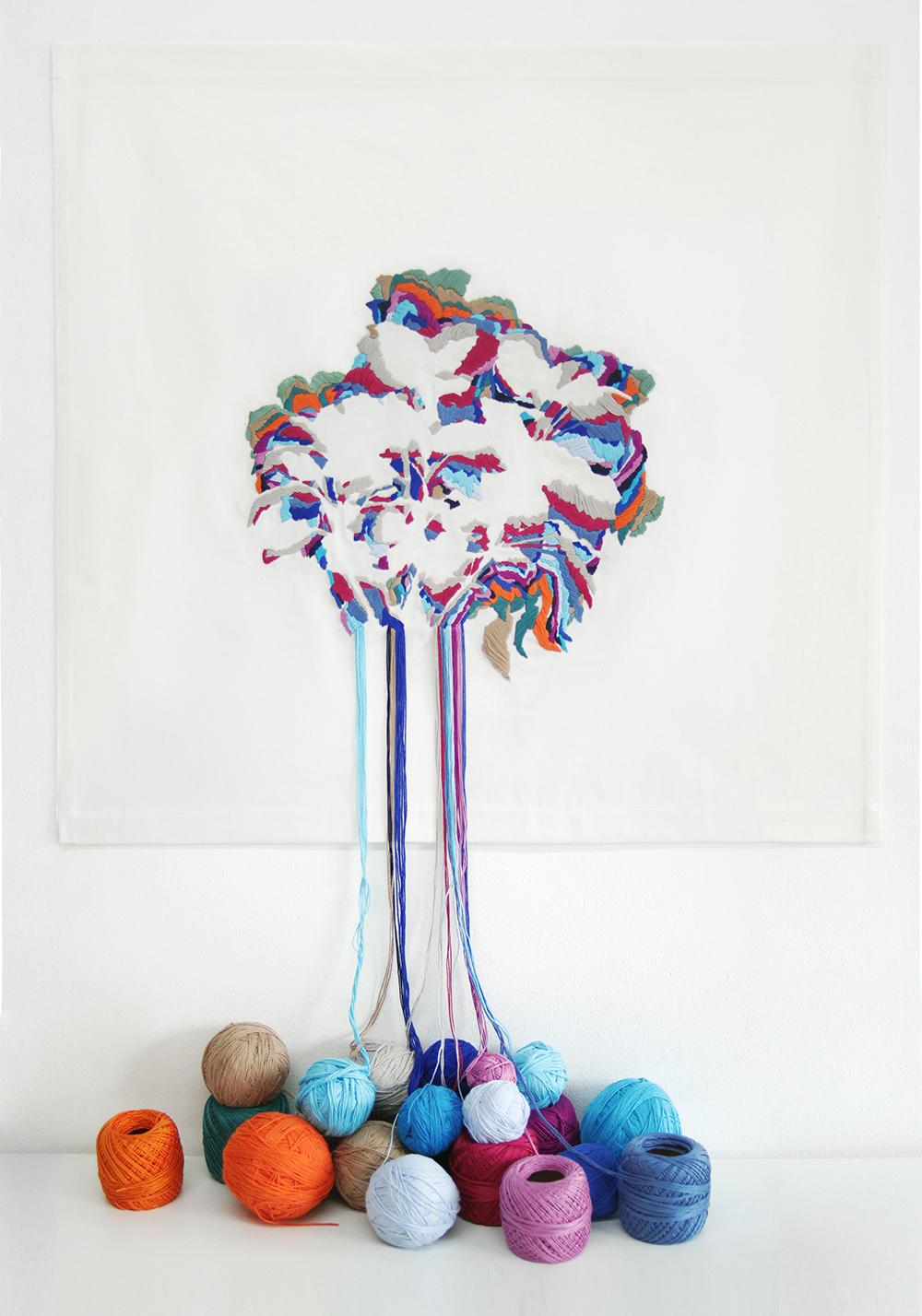 Ana Teresa Barboza und ihre malerische Stickerei_Bunter Baum