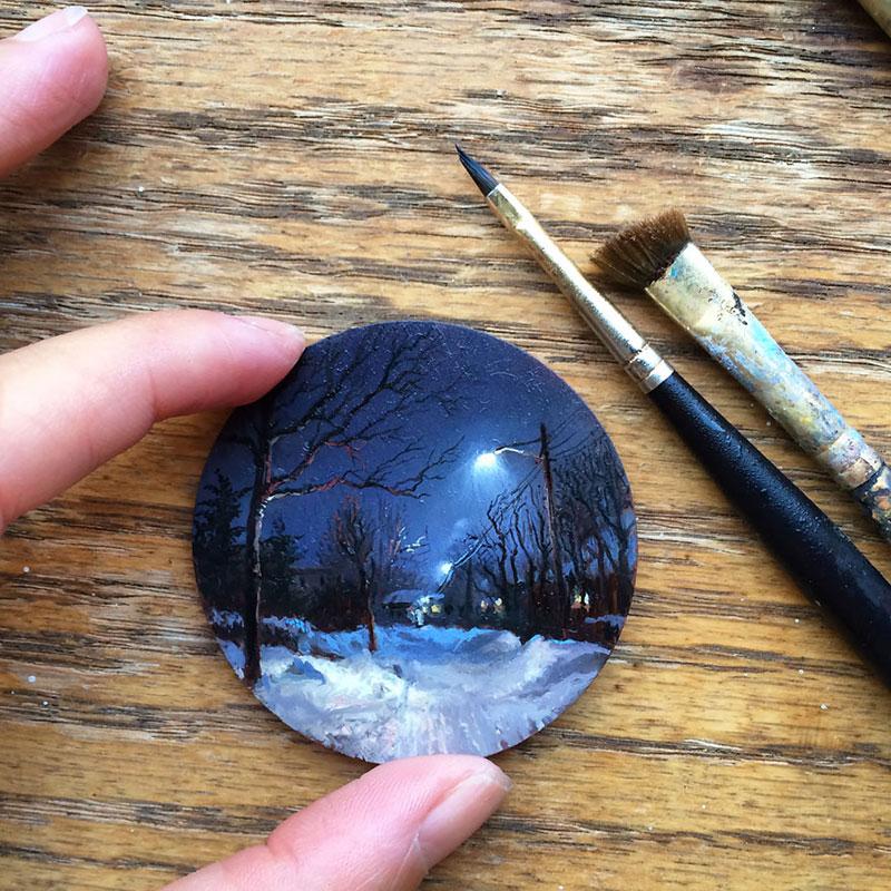Realistische Malerei von Dina Brodsky. Miniaturbild. Nacht