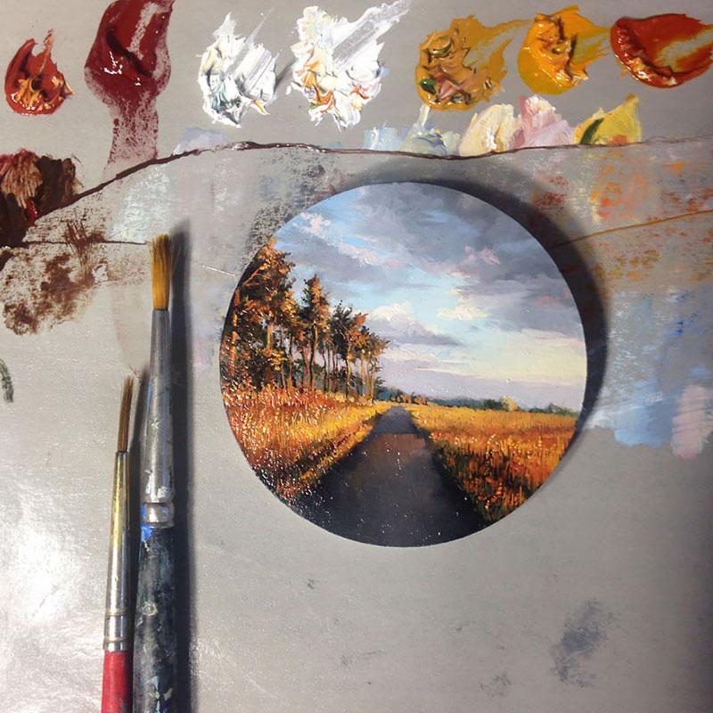 Realistische Malerei von Dina Brodsky. Miniaturbild. Feldweg