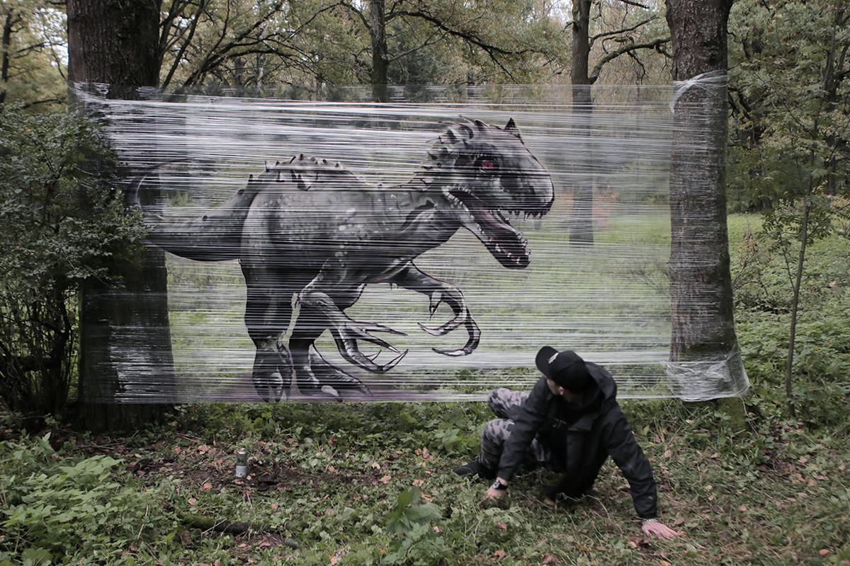 Tolle Cellograffiti-Werke von Evgeny Ches. Dinosaurier