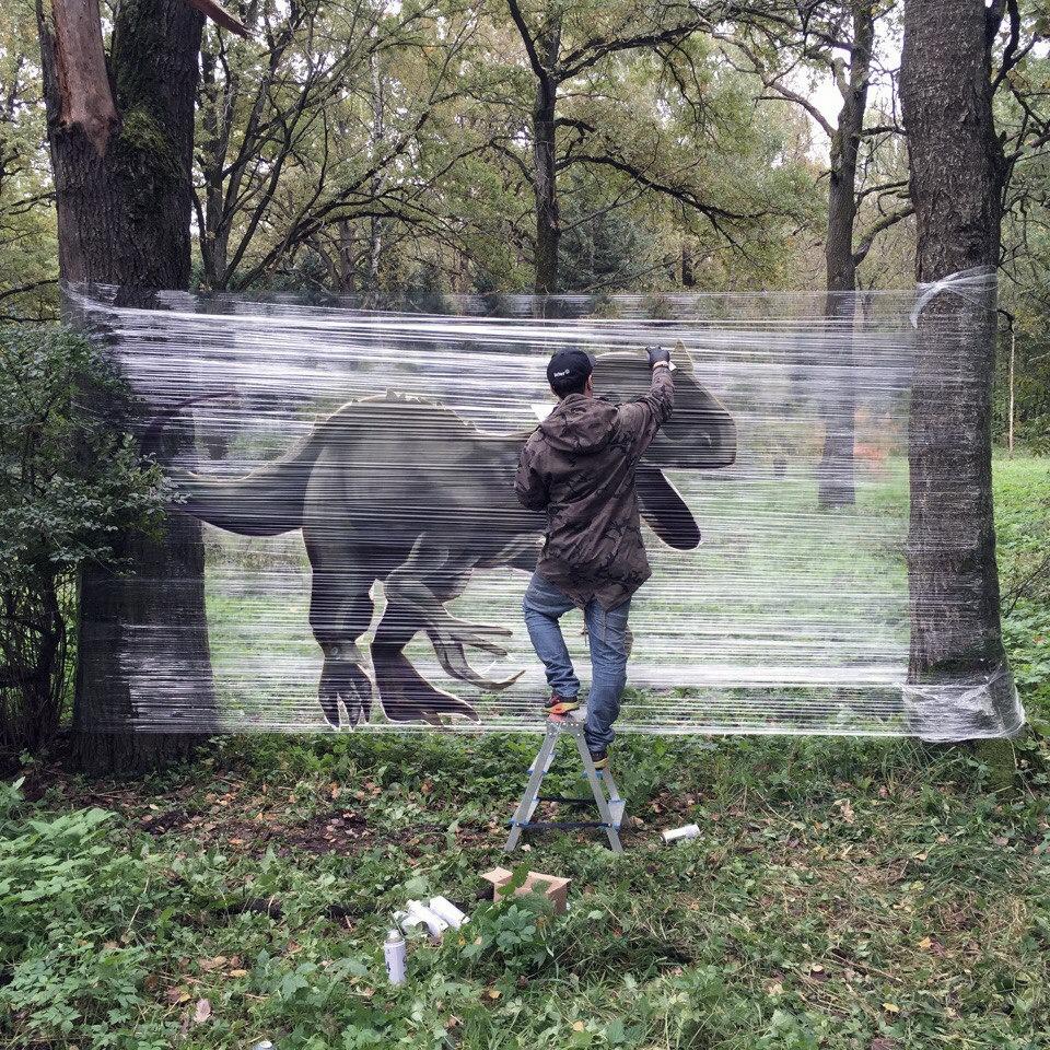 Dinosaurier-Cellograffiti. Enstehungsprozess