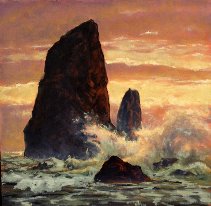 """Wunderbare Ölmalerei von Michael Orwick. """"Haystack Needles Cannon Beach"""""""