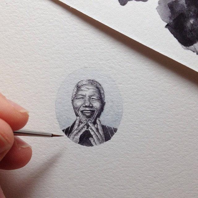 Miniatur-Portrait von Nelson Mandela